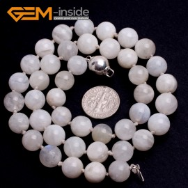 "G10345 10mm Moonstone 20"" Natural Smooth Round Gemstone Beads Handmade Finished Jewelry Necklace 17.5-20"" Gemstone Birthstone Necklaces Fashion Jewelry Jewellery"