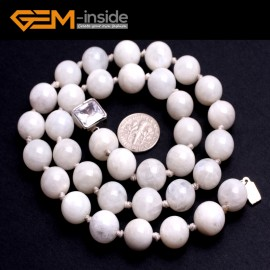 "G10346 12mm Moonstone 20"" Natural Smooth Round Gemstone Beads Handmade Finished Jewelry Necklace 17.5-20"" Gemstone Birthstone Necklaces Fashion Jewelry Jewellery"