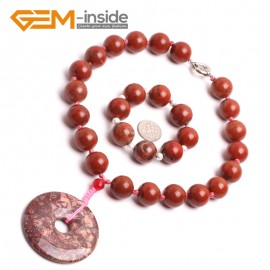 "G10464 With 40mm Red Jasper Circle Pendant 16mm Natural Round Red Jasper Handmade Finished Gemstone Necklace 16"" Gbeads Fashion Gemstone Stone Jewelry Jewellery Set"