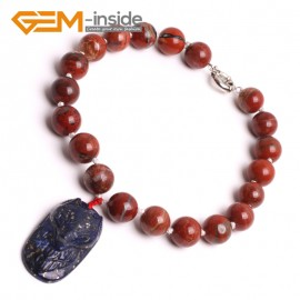 "G10465 With Fox Lapis Lazuli Pendant 16mm Natural Round Red Jasper Handmade Finished Gemstone Necklace 16"" Gbeads Fashion Gemstone Stone Jewelry Jewellery Set"