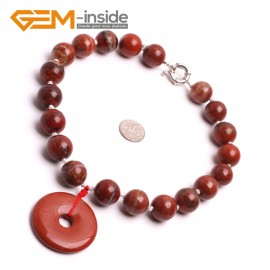 "G10466 With 40mm Red Jasper Circle Pendant 16mm Natural Round Red Jasper Handmade Finished Gemstone Necklace 16"" Gbeads Fashion Gemstone Stone Jewelry Jewellery Set"