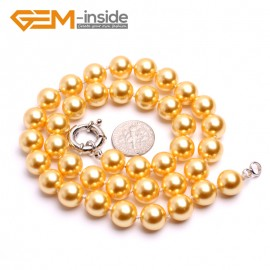 "G10469 Yellow 10mm Handmade Finished Shell Pearl MOP Gemstone Necklace 18"" 14 Colos Pick Pearl Necklaces Fashion Jewelry Jewellery"