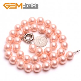 "G10470 Rose Pink 10mm Handmade Finished Shell Pearl MOP Gemstone Necklace 18"" 14 Colos Pick Pearl Necklaces Fashion Jewelry Jewellery"