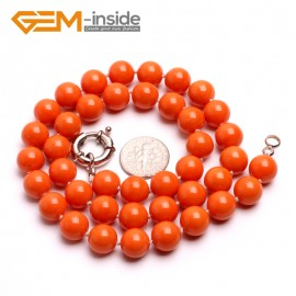 "G10471 Orange 10mm Handmade Finished Shell Pearl MOP Gemstone Necklace 18"" 14 Colos Pick Pearl Necklaces Fashion Jewelry Jewellery"