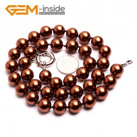 "G10476 Coffee 10mm Handmade Finished Shell Pearl MOP Gemstone Necklace 18"" 14 Colos Pick Pearl Necklaces Fashion Jewelry Jewellery"