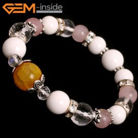 "G10507 Rose Quartz Shell Crystal Mixed Stone Elastic Stretch Energy Bracelet 7"" Fashion Jewelry Bracelets for Women"