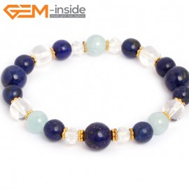 "G10510 Blue Lapis Lazuil Agate Crystal Mixed Stone Elastic Stretch Energy Bracelet 7"" Fashion Jewelry Bracelets for Women"