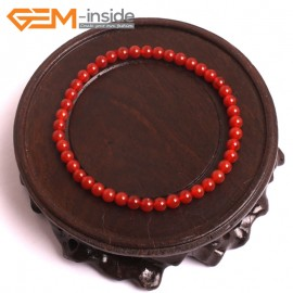 """G10517 4mm Round Red Agate Healing Elastic Stretch Energy Bracelet 7"""" Fashion Jewelry Bracelets for Women"""