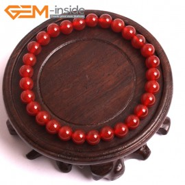 """G10518 6mm Round Red Agate Healing Elastic Stretch Energy Bracelet 7"""" Fashion Jewelry Bracelets for Women"""