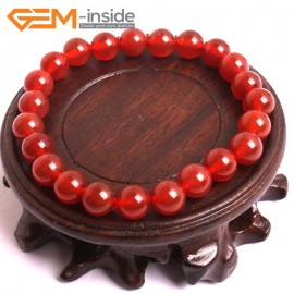"""G10519 8mm Round Red Agate Healing Elastic Stretch Energy Bracelet 7"""" Fashion Jewelry Bracelets for Women"""