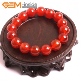 """G10521 12mm Round Red Agate Healing Elastic Stretch Energy Bracelet 7"""" Fashion Jewelry Bracelets for Women"""