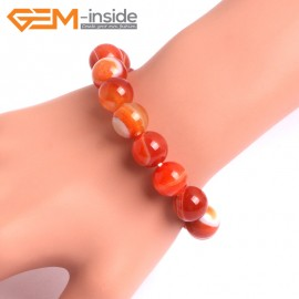 "G10566 12mm Round Sardonyx Red Agate Healing Elastic Stretch Energy Bracelet 7"" Fashion Jewelry Bracelets for Women"