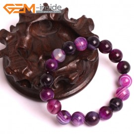 "G10570 10mm Round Sardonyx Purple Agate Healing Elastic Stretch Energy Bracelet 7"" Fashion Jewelry Bracelets for Women"