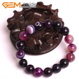 "G10571 12mm Round Sardonyx Purple Agate Healing Elastic Stretch Energy Bracelet 7"" Fashion Jewelry Bracelets for Women"