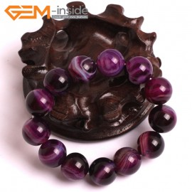 "G10572 14mm Round Sardonyx Purple Agate Healing Elastic Stretch Energy Bracelet 7"" Fashion Jewelry Bracelets for Women"