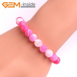 "G10573 8mm Round Frosted Matte Pink Agate Healing Elastic Stretch Energy Bracelet 7"" Fashion Jewelry Bracelets for Women"