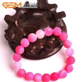 "G10574 10mm Round Frosted Matte Pink Agate Healing Elastic Stretch Energy Bracelet 7"" Fashion Jewelry Bracelets for Women"
