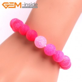 "G10575 12mm Round Frosted Matte Pink Agate Healing Elastic Stretch Energy Bracelet 7"" Fashion Jewelry Bracelets for Women"