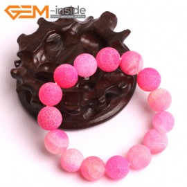 "G10576 14mm Round Frosted Matte Pink Agate Healing Elastic Stretch Energy Bracelet 7"" Fashion Jewelry Bracelets for Women"