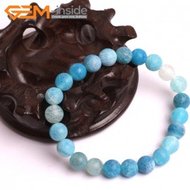 "G10577 8mm Round Frosted Matte Blue Agate Healing Elastic Stretch Energy Bracelet 7"" Fashion Jewelry Bracelets for Women"