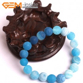 "G10578 10mm Round Frosted Matte Blue Agate Healing Elastic Stretch Energy Bracelet 7"" Fashion Jewelry Bracelets for Women"