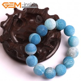 """G10580 14mm Round Frosted Matte Blue Agate Healing Elastic Stretch Energy Bracelet 7"""" Fashion Jewelry Bracelets for Women"""