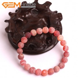 """G10581 8mm Round Frosted Matte Crackle Red Agate Healing Elastic Stretch Energy Bracelet 7"""" Fashion Jewelry Bracelets for Women"""