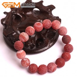"""G10583 12mm Round Frosted Matte Crackle Red Agate Healing Elastic Stretch Energy Bracelet 7"""" Fashion Jewelry Bracelets for Women"""