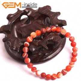 "G10589 6mm Round  Sardonyx Frosted Matte Red Agate Healing Elastic Stretch Energy Bracelet 7"" Fashion Jewelry Bracelets for Women"