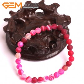 "G10590 6mm Round  Sardonyx Frosted Matte Magenta Agate Healing Elastic Stretch Energy Bracelet 7"" Fashion Jewelry Bracelets for Women"