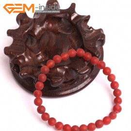 """G10593 6mm Round Frosted Matte Red Agate Healing Elastic Stretch Energy Bracelet 7"""" Fashion Jewelry Bracelets for Women"""