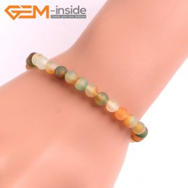"""G10594 6mm Round Frosted Matte Light Yellow Green Agate Healing Elastic Stretch Energy Bracelet 7"""" Fashion Jewelry Bracelets for Women"""