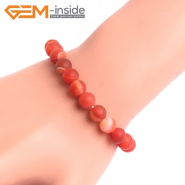 """G10597 8mm Round Frosted Matte Sardonyx  Red Agate Healing Elastic Stretch Energy Bracelet 7"""" Fashion Jewelry Bracelets for Women"""
