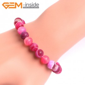 "G10601 8mm Round Frosted Matte Magenta Agate Healing Elastic Stretch Energy Bracelet 7"" Fashion Jewelry Bracelets for Women"