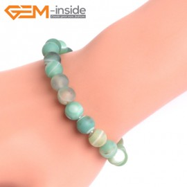 """G10602 8mm Round Frosted Matte Green Agate Healing Elastic Stretch Energy Bracelet 7"""" Fashion Jewelry Bracelets for Women"""