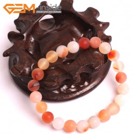 """G10603 8mm Round Frosted Matte Red Carnelian Agate Healing Elastic Stretch Energy Bracelet 7"""" Fashion Jewelry Bracelets for Women"""