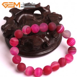 "G10604 10mm Round Frosted Matte Sardonyx Magenta Agate Healing Elastic Stretch Energy Bracelet 7"" Fashion Jewelry Bracelets for Women"
