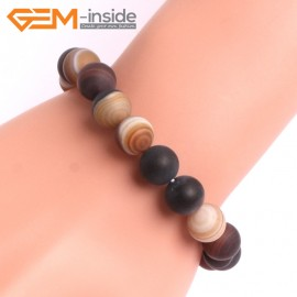 """G10608 10mm Round Frosted Matte Sardonyx Brown Agate Healing Elastic Stretch Energy Bracelet 7"""" Fashion Jewelry Bracelets for Women"""