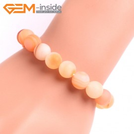 "G10612 10mm Round Frosted Matte Red Carnelian Agate Healing Elastic Stretch Energy Bracelet 7"" Fashion Jewelry Bracelets for Women"