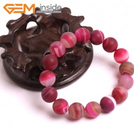"G10613 12mm Round Frosted Matte Sardonyx Magenta  Agate Healing Elastic Stretch Energy Bracelet 7"" Fashion Jewelry Bracelets for Women"