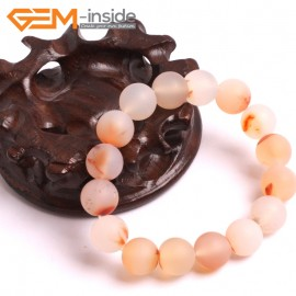 """G10615 12mm Round Frosted Matte Sardonyx Red Leaf Agate Healing Elastic Stretch Energy Bracelet 7"""" Fashion Jewelry Bracelets for Women"""