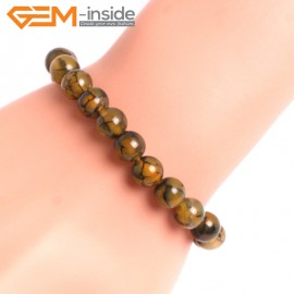 "G10621 8mm Round Yellow Dragon Veins Agate Healing Elastic Stretch Energy Bracelet 7"" Fashion Jewelry Bracelets for Women"