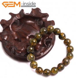 "G10622 10mm Round Yellow Dragon Veins Agate Healing Elastic Stretch Energy Bracelet 7"" Fashion Jewelry Bracelets for Women"