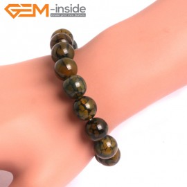 "G10623 12mm Round Yellow Dragon Veins Agate Healing Elastic Stretch Energy Bracelet 7"" Fashion Jewelry Bracelets for Women"