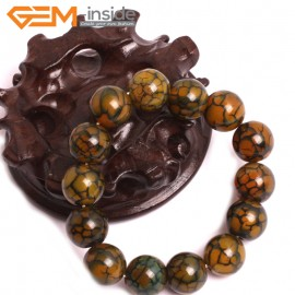 "G10624 14mm Round Yellow Dragon Veins Agate Healing Elastic Stretch Energy Bracelet 7"" Fashion Jewelry Bracelets for Women"