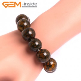 "G10625 16mm Round Yellow Dragon Veins Agate Healing Elastic Stretch Energy Bracelet 7"" Fashion Jewelry Bracelets for Women"