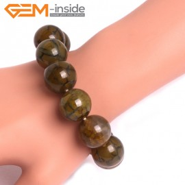 "G10626 18mm Round Yellow Dragon Veins Agate Healing Elastic Stretch Energy Bracelet 7"" Fashion Jewelry Bracelets for Women"