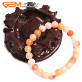 "G10627 8mm Round Orange Dragon Veins Agate Healing Elastic Stretch Energy Bracelet 7"" Fashion Jewelry Bracelets for Women"