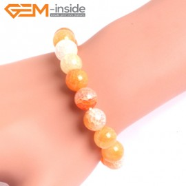 "G10628 10mm Round Orange Dragon Veins Agate Healing Elastic Stretch Energy Bracelet 7"" Fashion Jewelry Bracelets for Women"