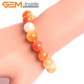 "G10629 12mm Round Orange Dragon Veins Agate Healing Elastic Stretch Energy Bracelet 7"" Fashion Jewelry Bracelets for Women"